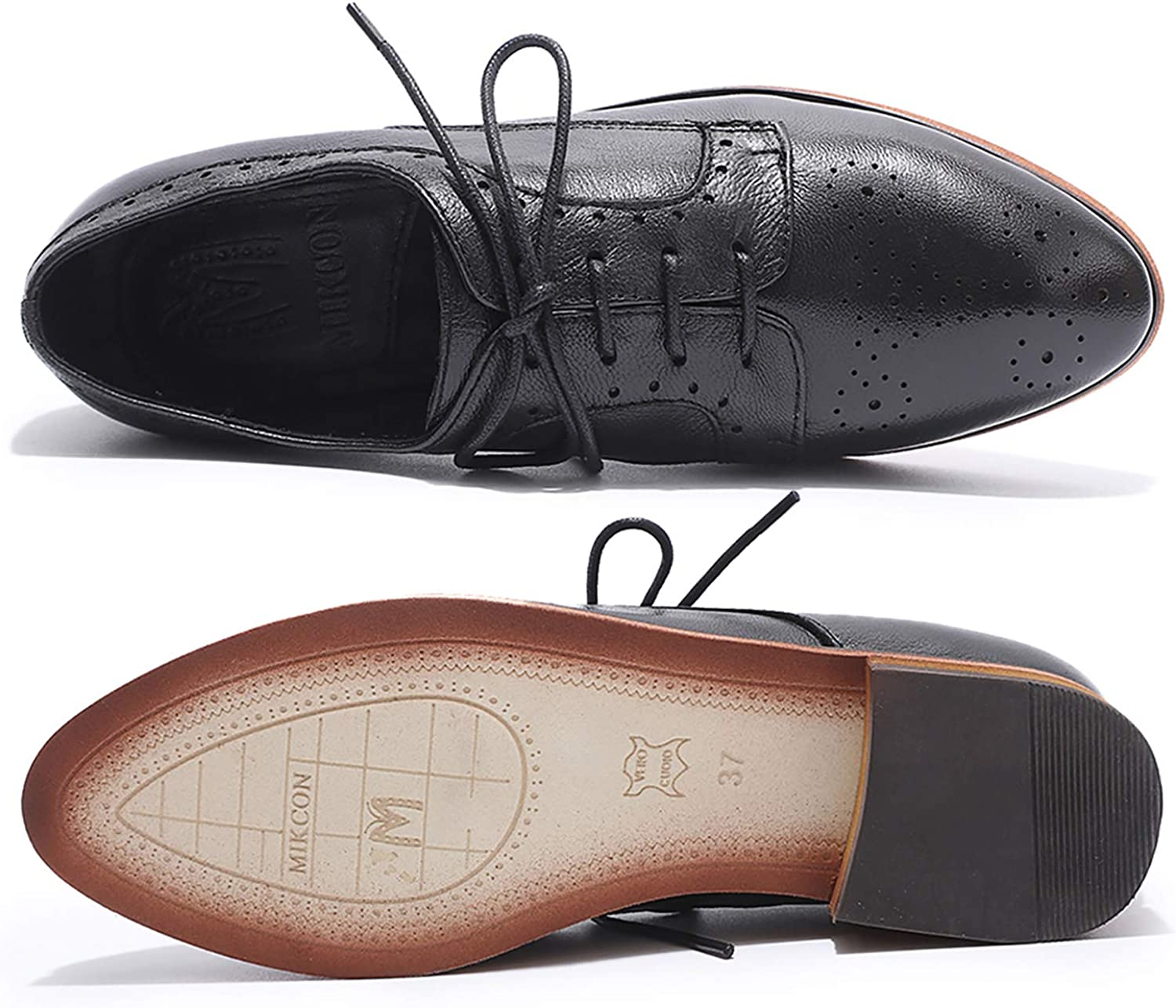 MIKCON Womens Leather Lace up Oxfords Wingtip Brogue Flats Saddle Shoes for Girls
