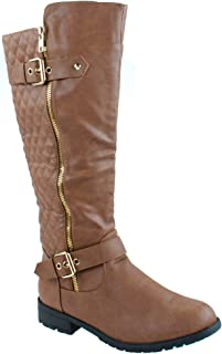 f15e796d308 Top Moda Shoes bally-32 Women s Mid Calf High Riding Boots with Quilted  Pattern