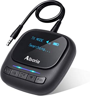 Aiboria Bluetooth 5.0 Transmitter/Receiver, Wireless 3.5mm RCA AUX Bluetooth Adapter Pair 2 Headphones at Once with OLED D...