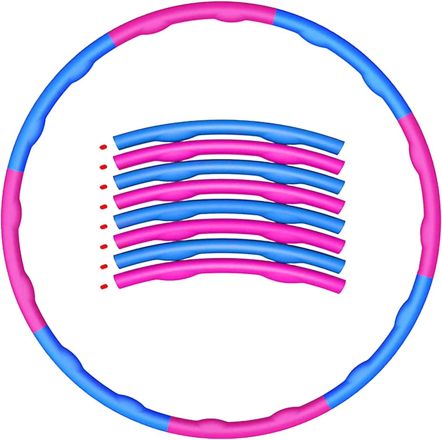 Weighted Foam Padded Fitness Hula Hoop Ring Fitness Hoola Hoop for Adult,Adult Folding Weight Loss Hoop,8 Section Detachable Design,Wave Groove Design