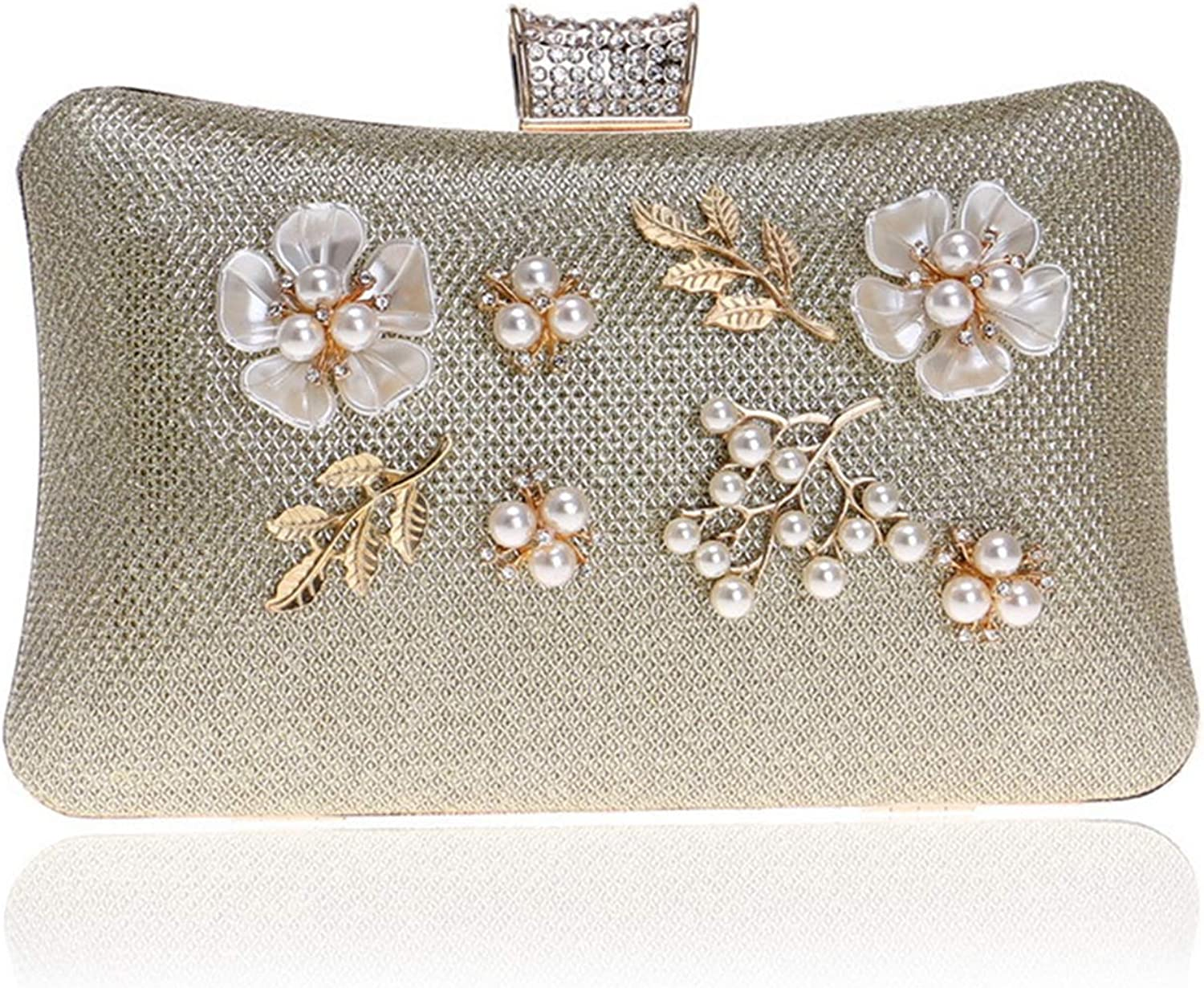Clutch Handbag Dinner Beading Flowers at Night Crossbody Bag Wedding Party Prom Wallet Silver Shoulder Bags Pearl Rhinestone Women's gold Pocket (20×6×12cm)