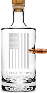 Integrity Bottles Premium .50 Cal BMG Bullet Bottle, American Flag, Hand Etched 750mL Round Jersey Decanter, Cork Top, Made in USA, Drinking Gifts, Etched with Honor