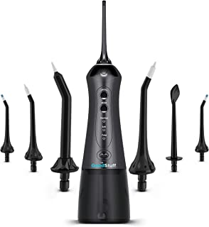 Cordless Water Flosser for Teeth - Smile Brighter with a Portable Waterflosser - Rechargeable Travel Water Flosser/Oral Irrigator with 2 Heads, Travel Case and USB Charger (Black)