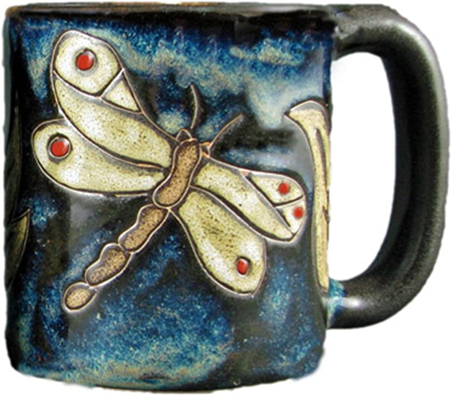 One 1 MARA STONEWARE COLLECTION 16 Oz Coffee Tea Cup Collectible Dinner Mugs Dragonfly Insect Design