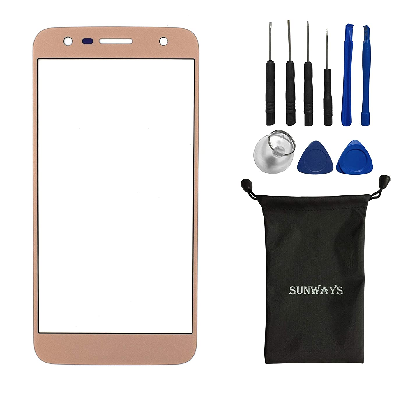 sunways Outer Glass Lens Screen Replacement for LG X power2 X500 X Charge M320G(Golden)