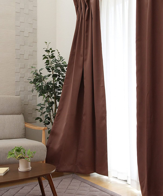 寝室を掃除する起こりやすい愛されし者防炎 1級遮光 ドレープカーテン『 サンカット 』【UNI】ブラウン100×150cm(#9803179)2枚組(既製品) 選べる12色、15サイズ展開