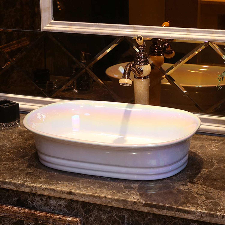 GAOLI Weies Aufsatzbecken, Keramikwaschbecken, Ovale Arbeitsplatte, Kunstwaschbecken, Waschtisch, Waschtisch