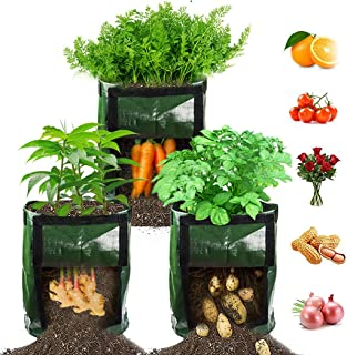 Best 【3 Pack】 Potato Grow Bags, Plant Grow Bags 7 Gallon Heavy Duty Thickened Growing Bags Planting Pots Container Garden Vegetable Planter with Handles & Large Harvest Window Review