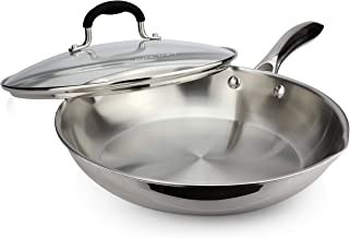 AVACRAFT 18/10 Tri-Ply Stainless Steel Frying Pan with Lid, Side Spouts, Stay Cool Handle, Induction Pan, Versatile Stainl...