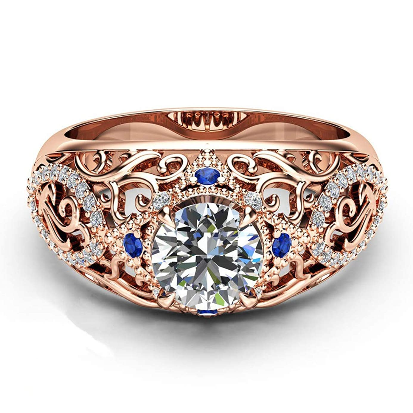 Kintaz Women's Engagement Wedding Ring European and American Fashion Luxury Simulation Green Diamonds Jewelry (6, Rose Gold)