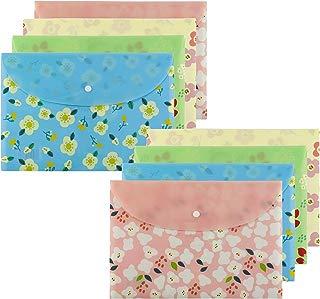 Hysagtek 8 Pcs Floral Printed A4 Size Paper Document File Folder Pouch Organizer Envelopes Business Briefcase Storage Holder with Snap Button Closure,4 Colors