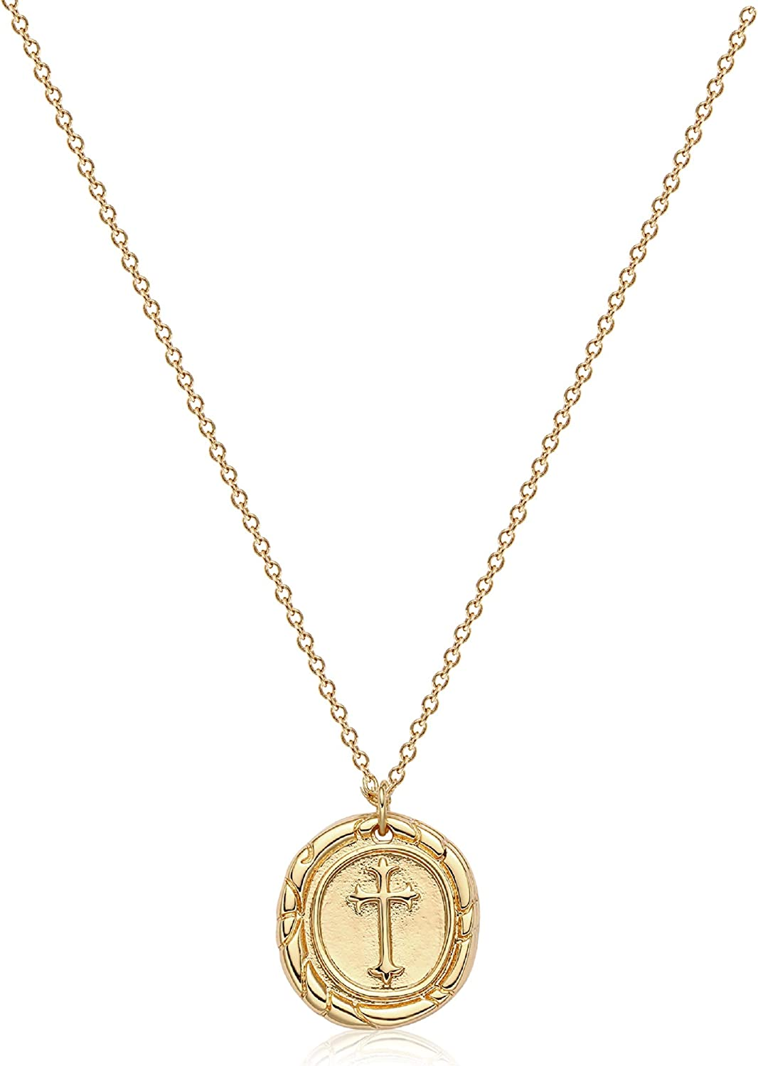 Befettly Coin Pendant Necklaces for Women Dainty 14k Gold Chain Necklace Jewelry Plated Cross Fish Moon Round Choker