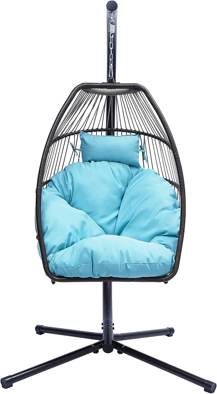 Garden Excellent Store Wicker Folding Hanging Chair Rattan Egg Swing Ch Hammock