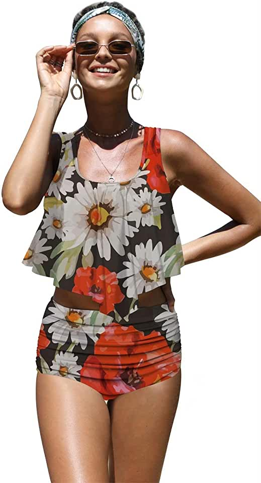 Angerella Womens Beautiful Floral Summer Seamless Pattern Flounce Bikinis High Waisted Swimsuits,S-3