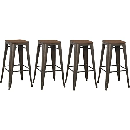 Amazon Com Btexpert 30 Inch Bar Stool Modern Solid Steel Stacking Industrial Rustic Metal With Wood Top Set Of 4 Furniture Decor