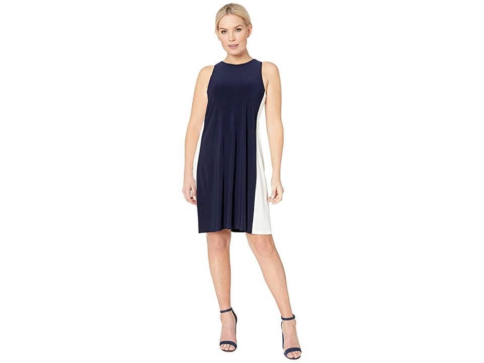 LAUREN Ralph Lauren 4R Matte Jersey Kylene Sleeveless Day Dress (Lighthouse Navy/Lauren White) Women