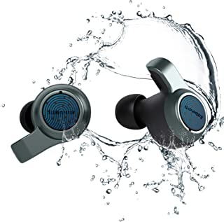 Jabees Firefly.2 Touch TWS - Auriculares Bluetooth impermeables y a prueba de polvo IP67 10 horas de reproducción en color verde medianoche, modo de transparencia, auriculares deportivos acuáticos con micrófono doble, estuche de carga inalámbrica Qi (carbón)