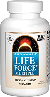 Source Naturals Life Force Multiple Iron Free Daily Multivitamin High Potency Essential Vitamins, Minerals, Antioxidants & Nutrients - Energy & Immune Boost - 120 Tablets