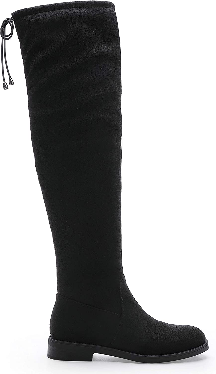 CentroPoint Womens Over The Knee Boot Thigh High Boots Riding Low Heel Strappy Side Zip Stretchy Booties