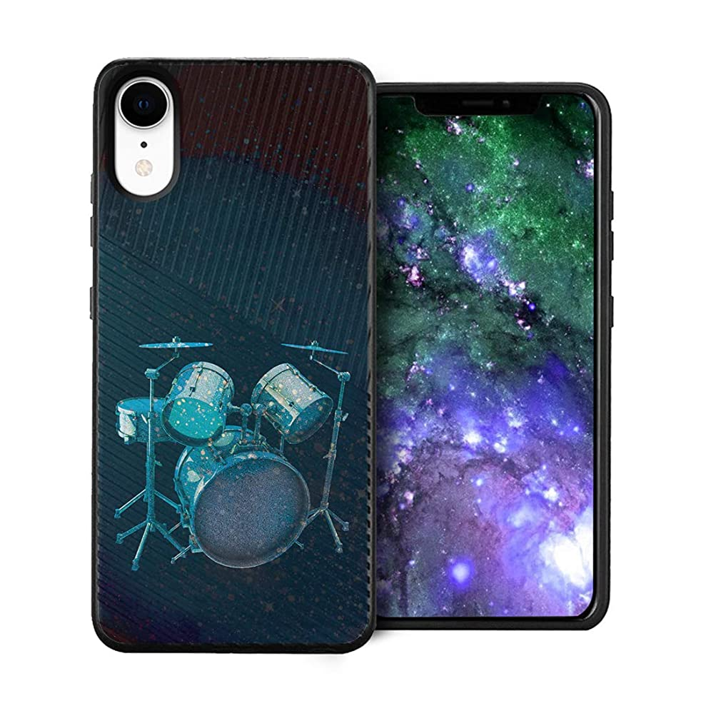 Capsule Case Compatible with iPhone XR [Embossed Diagonal Lines Hybrid Dual Layer Slim Armor Black Case] for iPhone XR- (Drums)