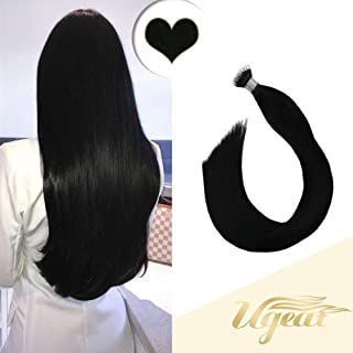 Ugeat 16inch Pre Bonded Nano Stick Tips Hair Extensions 100% Remy Human Hair Color #1 Jet Black Hair Extensions 1g/strand Nano Beads Hair Extensions Fusion Human Hair 50G/Pack