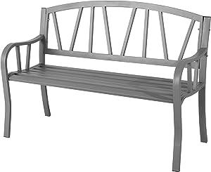 Banco de jardín de 3 plazas de acero resistente a la intemperie