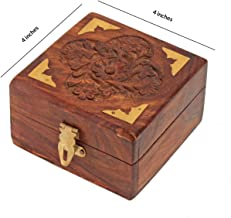 AMERINDIAN Fine Rosewood Jewelry Trinket Box Keepsake Organizer Handcrafted with Floral Carvings, 4 x 4 inches