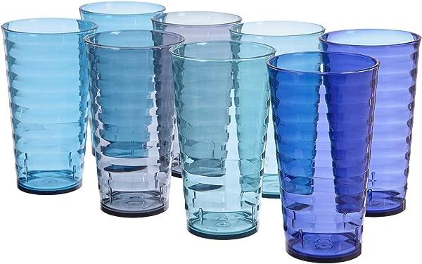 飞溅 18 盎司塑料酒杯 8 套 4 沿海颜色