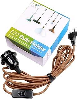 LáMpara Colgante Para IluminacióN De Techo, Kit Suspendido De PortaláMparas E27 Con Cable Trenzado, PortaláMparas De Baquelita Con Enchufe De Interruptor De Encendido / Apagado, Peba (4,5 M, MarróN)