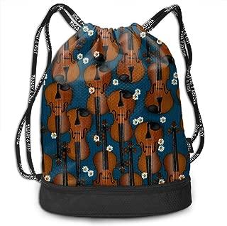 Men & Women Premium Polyester Drawstring Backpack Colorful Violin Pattern Shoulder Bags Theft Proof Lightweight For Traveling Soccer Baseball Bag Large For Camping, Yoga
