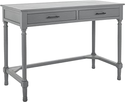 SAFAVIEH Home Collection Layce Brown 2-Drawer Computer Office Desk Table DSK5704B, Distressed Grey