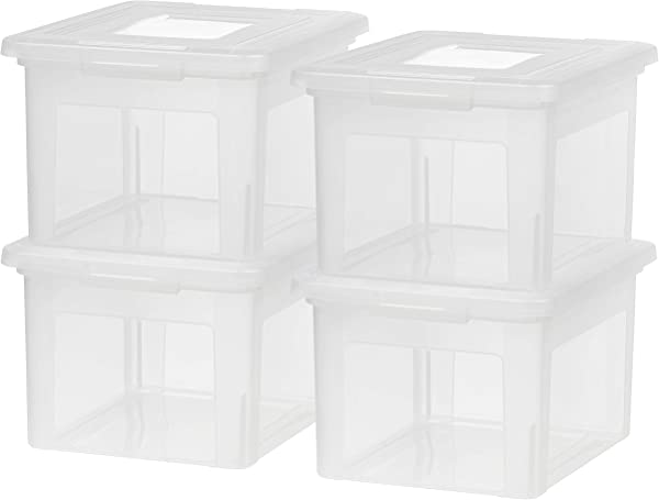 IRIS USA Inc FB 21EE Letter And Legal Size File Box Medium Clear 4 Pack