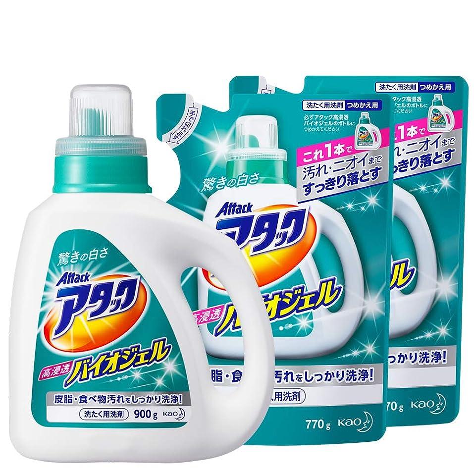 社会一般的に言えばシャープ【まとめ買い】アタック 洗濯洗剤 液体 高浸透バイオジェル 本体+詰め替え770g×2個