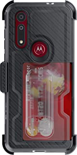 Ghostek Iron Armor Moto G8 Case with Belt Clip Holster, Kickstand & Card Holder Heavy Duty Protection Shockproof Protective Armor Phone Cover Wireless Charging Compatible for Motorola Moto G8 - Black