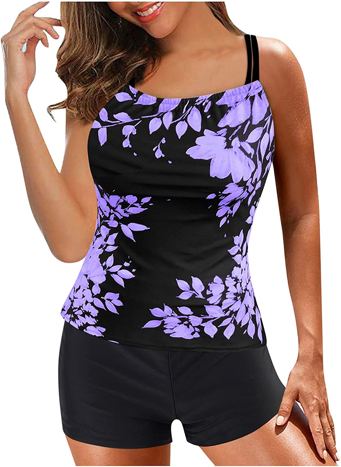 FeiFei66 Womens Tankini Swimsuits Plus Size Digital Print Strappy Back Swimdress Top with Boyshorts Two Piece Bathing Suits