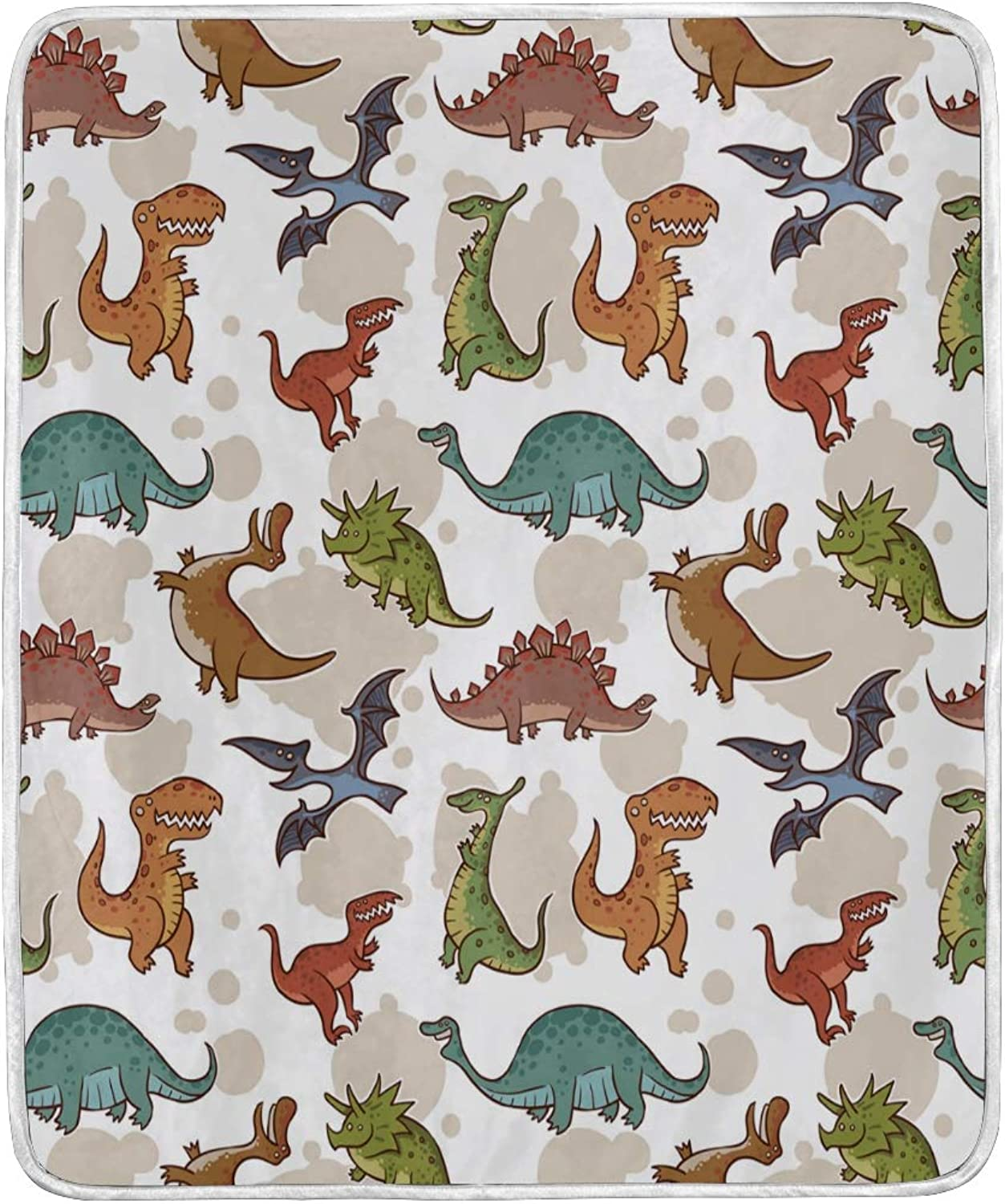 OPRINT Home Decor Stylish Prehistoric Dinosaurs Bed Blanket Lightweight Comfy Soft Warm Blanket Throw Size 50 x 60 inches for Kids Boys Women Sofa Couch