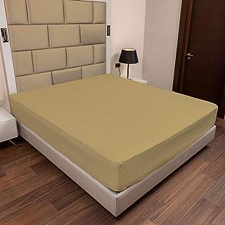 ABAKUHAUS Coton Drap-Housse, Drap de lit Super Doux Couleur Unie Élastique, 120 cm x 190 cm, Brun Pâle