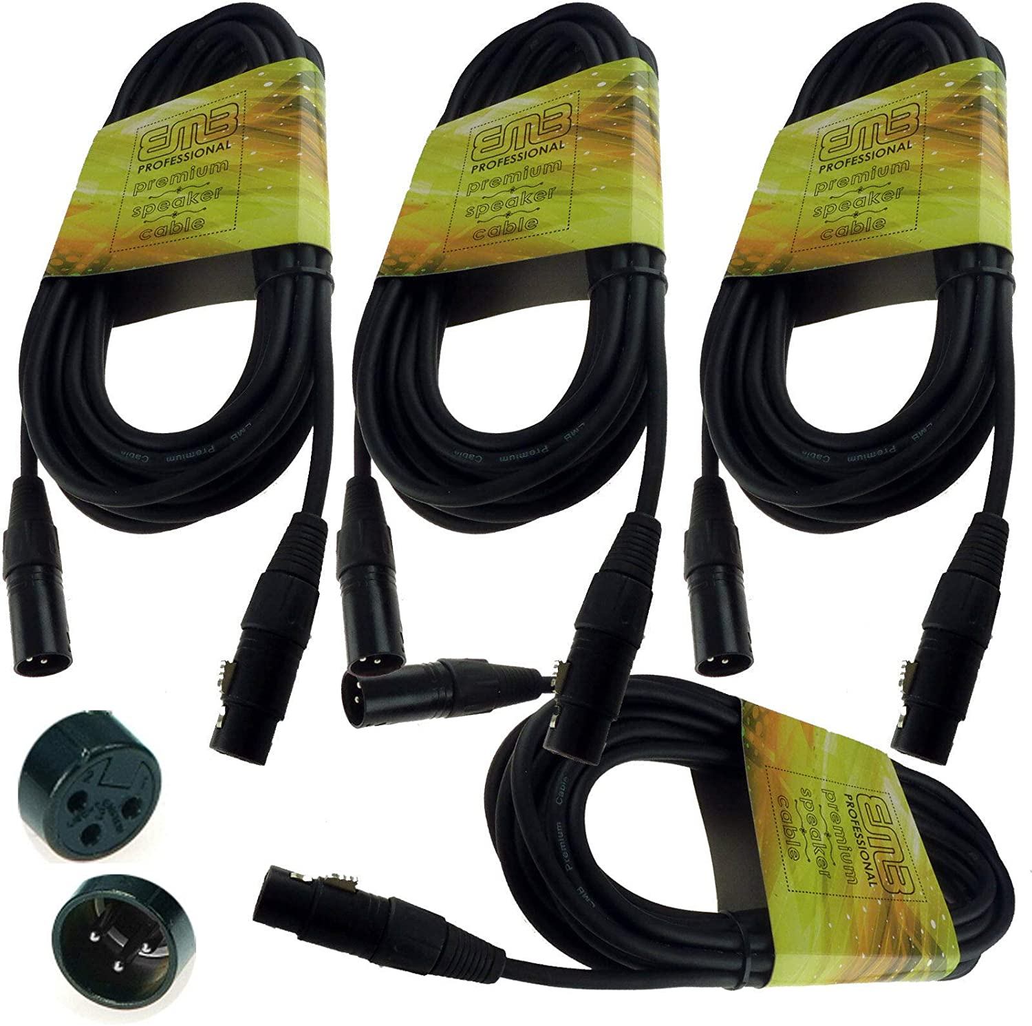 Cheap NEW 4 PACK 15' Feet ft XLR 18 MIC F Store CABLES MICROPHONE wire gauge