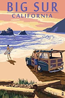 Big Sur, California - Woody on Beach (12x18 Art Print, Wall Decor Travel Poster)