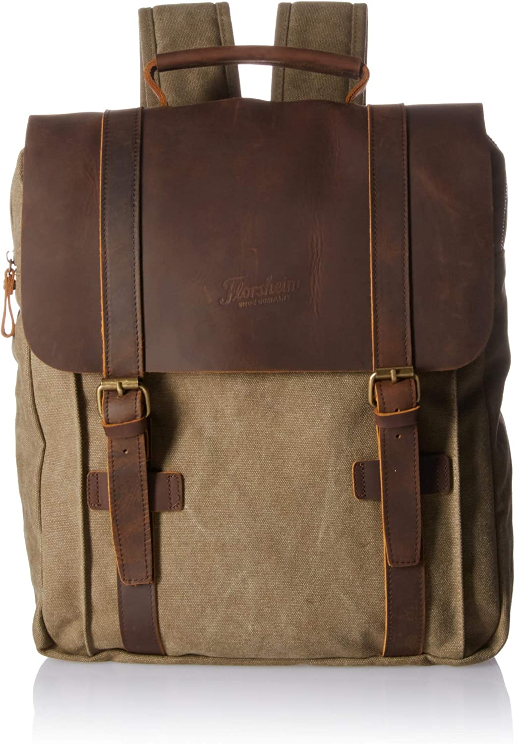 Florsheim Canvas and Leather Flap Backpack, Khaki, One Size