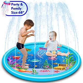 "SUNSHINEMALL Inflatable Splash Sprinkler Pad for Kids, Kiddie Baby Pool,68"" Outdoor Water Mat Toys - Baby Infant Wading Swimming Pool - Fun Backyard Fountain Play Mat (67inch)"