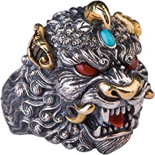 خاتم من الفضة الإسترلينية العتيق للرجال خاتم الشرير منحوت باليد S925 مادة الفضة الاسترلينية، الاستخدام لن يسبب الحساسية