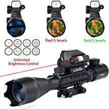 UUQ 4-16x50 Tactical Rifle Scope Red/Green Illuminated Range Finder Reticle W/RED(Green) Laser Sight and Holographic Reflex Dot Sight (4-16X50 Red Laser)