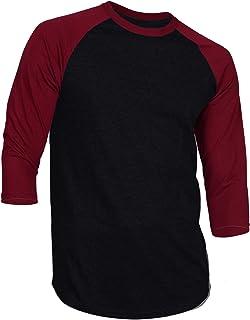 DREAM USA Men's Casual 3/4 Sleeve Baseball Tshirt Raglan Jersey Shirt Black/Burg Large