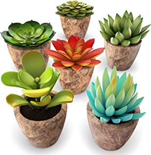 Set of 6 Artificial Succulent Plants – Fake Plants with Grey Ceramic Planters for Decoration