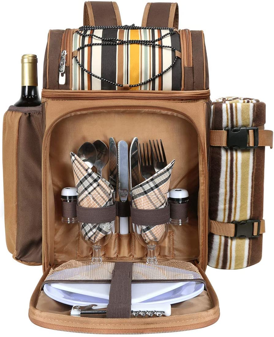 Hap Tim Picnic Basket Backpack for 2 Person with 2 Insulated Cooler Compartment, Wine Holder, Fleece Blanket, Cutlery Set,Perfect for Beach, Day Travel, Hiking, Camping, BBQs, Family or Wedding Gifts : Patio, Lawn & Garden