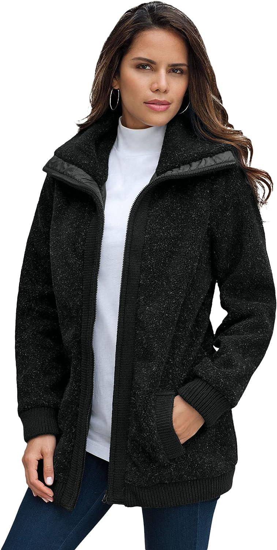 Roaman's Women's Plus Size Textured Fleece Bomber Coat