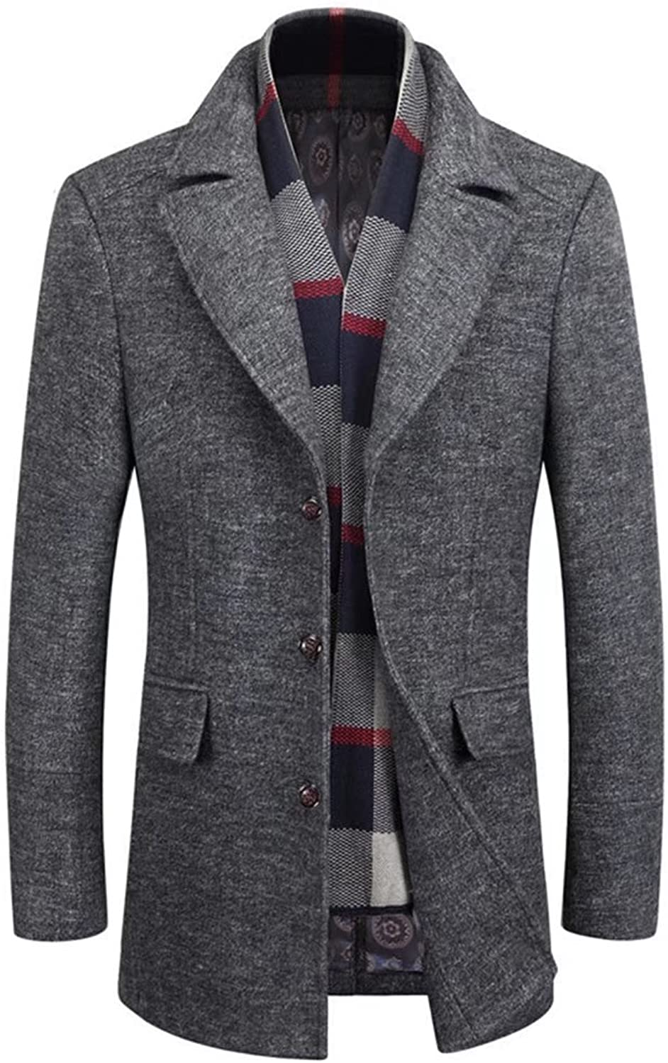 Men`s Lapel Woolen Trench Coat with Detachable Scarf Single Breasted Long Coat Jacket