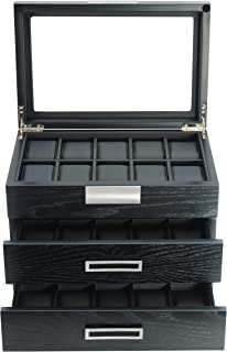 Ebony Wood Watch Box Display Case Storage Jewelry Organizer with Glass Top, Stainless Steel Accents, and Oversized Black Pillows