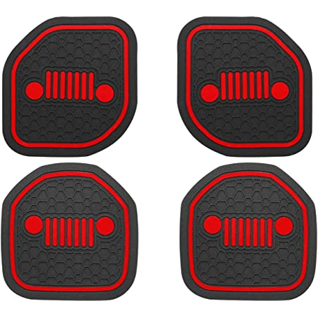 2018 2019 Jeep Wrangler JL JLU /& 2020 Gladiator JT Red-2pcs, or 1pair,for Front US-LXC Auto Cup Holder Coaster Insert: an Interior Accessory Fit for Sport /& Rubicon of or A Car Liner Mat Pad,
